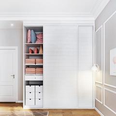 拜尔全屋定制家居组装衣柜推拉门现代简约柜子卧室整体衣柜定制储物柜 展开面积499/平 NAF无醛级